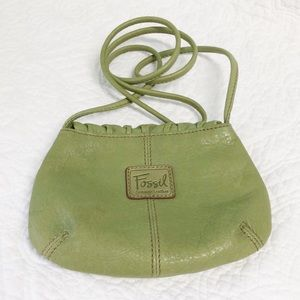 Fossil leather green crossbody bag NWOT